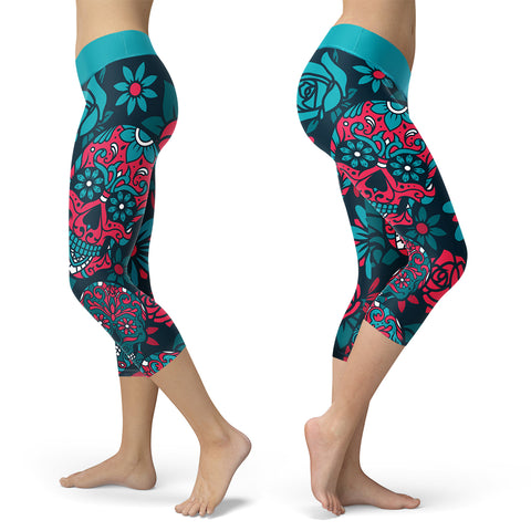Blue and Red Sugar Skull Capris, Capris, Xlusion, FamilyTrophy.com - FamilyTrophy.com
