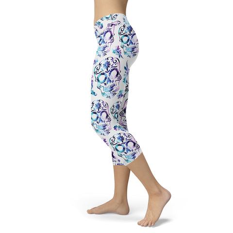 White and Purple Sugar Skull Capris, Capris, Xlusion, FamilyTrophy.com - FamilyTrophy.com