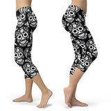 Black and White Sugar Skull Capris, Capris, Xlusion, FamilyTrophy.com - FamilyTrophy.com