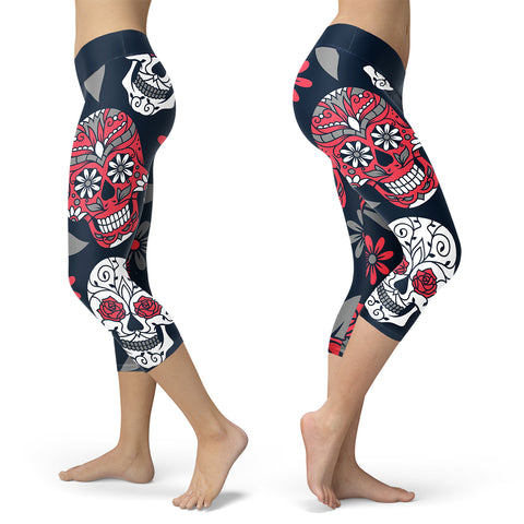 Red and Navy Sugar Skull Capris, Capris, Xlusion, FamilyTrophy.com - FamilyTrophy.com