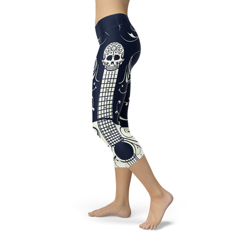 Blue and White Sugar Skull Guitar Capris, Capris, Xlusion, FamilyTrophy.com - FamilyTrophy.com