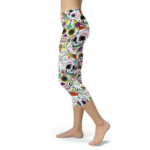 Really Colorful Sugar Skull Capris, Capris, Xlusion, FamilyTrophy.com - FamilyTrophy.com