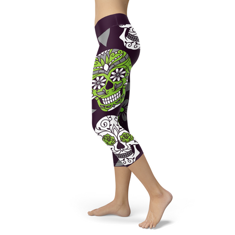 Light Green and Purple Sugar Skull Capris, Capris, Xlusion, FamilyTrophy.com - FamilyTrophy.com