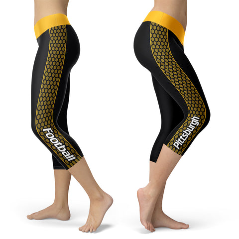 Pittsburgh Honeycomb Stripe Football Capris, Capris, Xlusion, FamilyTrophy.com - FamilyTrophy.com