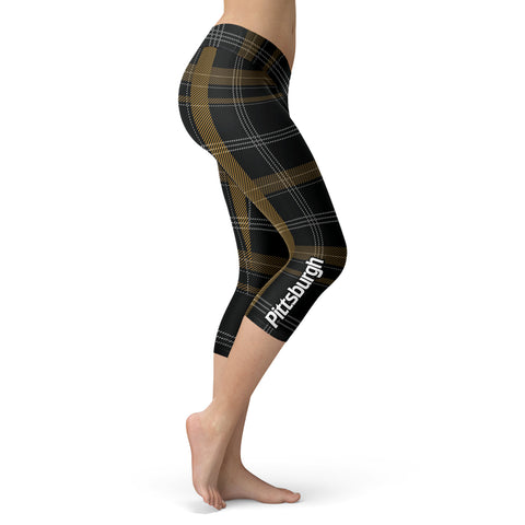 Pittsburgh Plaid Football Capris, Capris, Xlusion, FamilyTrophy.com - FamilyTrophy.com