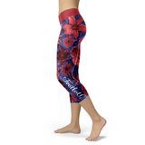 New York Giants Flower Football Capris, Capris, Xlusion, FamilyTrophy.com - FamilyTrophy.com