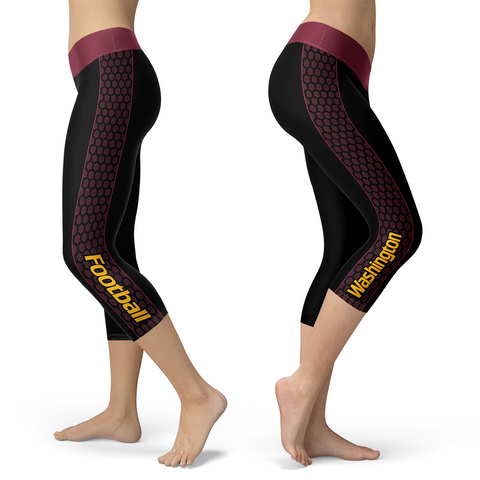 Washington Honeycomb Stripe Football Capris, Capris, Xlusion, FamilyTrophy.com - FamilyTrophy.com