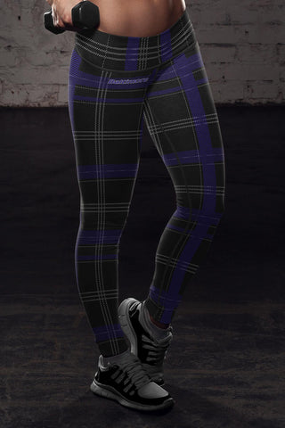 Baltimore Football Plaid Leggings, Leggings, Xlusion, FamilyTrophy.com - FamilyTrophy.com