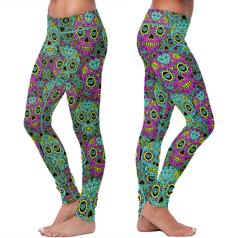 Blue and Purple Sugar Skulls, Leggings, Xlusion, FamilyTrophy.com - FamilyTrophy.com