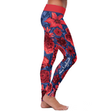 New England Flower Football Leggings, Leggings, Xlusion, FamilyTrophy.com - FamilyTrophy.com