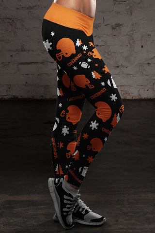Cincinnati Ugly Christmas Random Football Leggings, Leggings, Xlusion, FamilyTrophy.com - FamilyTrophy.com