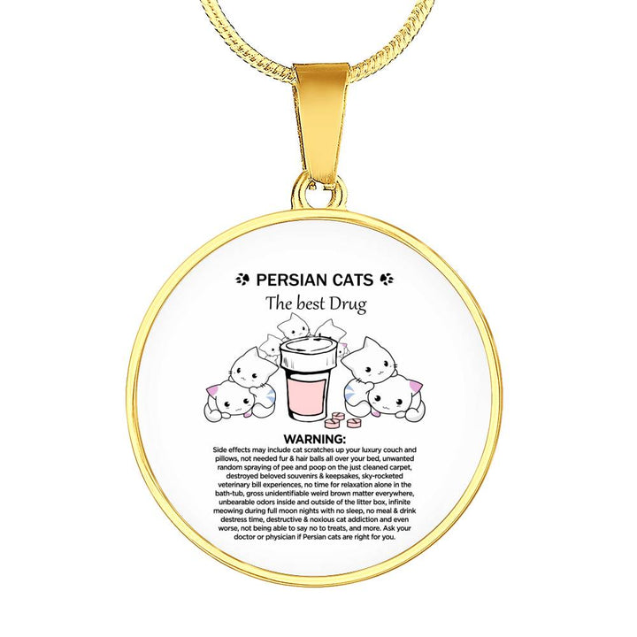 PREMIUM CUSTOM DESIGNED & ENGRAVED GOLD NECKLACE - PERSIAN CATS THERAPY - PERSIAN CAT FAN GIFT FOR CAT MOMS + SURPRISE BONUS - FamilyTrophy.com