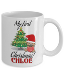 First Name Personalized X-Mas 2016 Hug Me Babies Elf Santa Candy Mug - Christmas Gift Mom & Dad - Fun Personalization Gift For Baby & Parents, Coffee Mug, Gearbubble, FamilyTrophy.com - FamilyTrophy.com