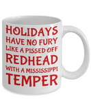 Holiday Christmas Mug Gift For Redhead Mississippi Girls - Xmas Inspiration Gift For Her, Mom, Grandma, Sister, Girlfriend - 11oz White Ceramic Cup for Cocoa, Coffee, Tea, Cookies & Ginger Bread, Coffee Mug, Gearbubble, FamilyTrophy.com - FamilyTrophy.com
