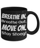 Fun Coffee Mug Black Fitness Cup Coffee Cups For Fit Lady & Gent Unique Jar For Yoga Lovers Funny Sayings Meditation Mug Breathe In Out Stay Strong Jars, Coffee Mug, Gearbubble, FamilyTrophy.com - FamilyTrophy.com