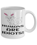 Cat Bunny Ears Easter Cat Gift White Coffee Mug For Cat Kitten Lovers Holiday Gift 2017 2018 Gifts For Him Her Funny Sayings Tea Coffee Mugs Cups For Kitty Fans Humans Are Idiots Fun Cat Bunny Ear Sarcasm Jar, Coffee Mug, Gearbubble, FamilyTrophy.com - FamilyTrophy.com