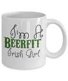 Irish Beer Fit Girl Coffee Mug St. Patrick's Day Gifts For Women White Ceramic Cup For Tea, Cocoa, Beer, Whiskey, Coffee Mug, Gearbubble, FamilyTrophy.com - FamilyTrophy.com
