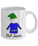 Elf Jason Mug Perfect for Holidays, Birthday, Girls, Boys Gift for Him & Her - Inspirational Santa Humor & Personalized Name Cup - Elf Kid Gifts 11 oz Cup For Hot Cocoa, Coffee & Tea, Coffee Mug, Gearbubble, FamilyTrophy.com - FamilyTrophy.com