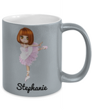 Ballerina Mug for Girls: Personalized Girl Mug - Cute Gift For Kids - Inspirational Mug for Dancing Fans - Christmas Dance Mug & Holiday Gift For Hot Cocoa & Breakfast - Premium Kid Name Personalisation & Customization Silver Metallic Cup, Coffee Mug, Gearbubble, FamilyTrophy.com - FamilyTrophy.com