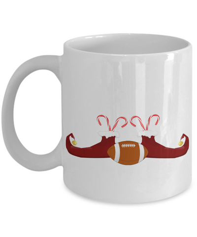 Football Elf Candy Christmas Mug - Holidays 2016 Cup for Cocoa!, Coffee Mug, Gearbubble, FamilyTrophy.com - FamilyTrophy.com