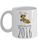 Motivation Happy Holidays Morning Coffee Mug - Funny Sayings & Quotes Christmas Gift for Boys - Hot X-Mas Cocoa, Milk, Cookies, Candy Cane & Pencil Cup, Coffee Mug, Gearbubble, FamilyTrophy.com - FamilyTrophy.com