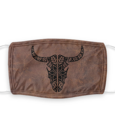 Bull, Gaucho, Wild West Mask For Cowboy Living - Protection With Filter Pocket & Cactus Design For People Who Love Texas, Torrero Lifestyle & The South With Removable Filter