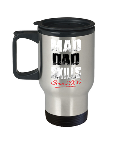 Mad Dad Skills Travel Mug For Hot Beverages - Premium Quality Made In USA - Unique Gift For Husband & Father From Wife, Daughter, Girlfriend, Fiancée - FamilyTrophy.com