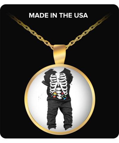 Halloween Ghost Costume Jewelry For Kids - Skeletton Kid Round Gold Necklace - Fun Halloween Gifts For Boys & Girls, Necklace, Gearbubble, FamilyTrophy.com - FamilyTrophy.com
