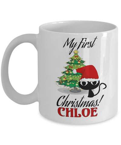 Christmas Personalized X-Mas Kitten Mug - Christmas 2016 Gift - Fun Holiday Personalization Xmas Gift For Cat & Kitty Lovers, Coffee Mug, Gearbubble, FamilyTrophy.com - FamilyTrophy.com