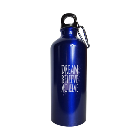 Dream Believe Achieve - Water Bottle Metallic Blue