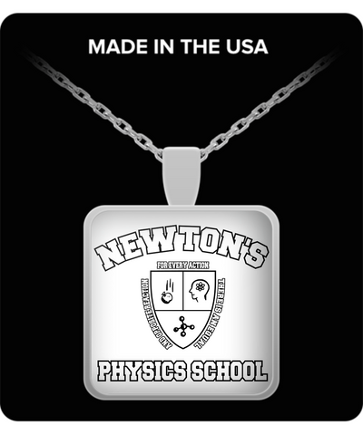 Newton's Physics School Funny Teacher Student Necklace Square Back To School University Gift Silver Jewelry