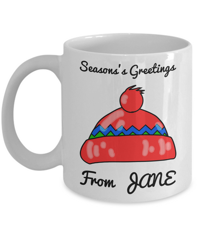 Season's Greetings Personalized Name Winter Mug for Girls - Personalization Gift for Holidays 2016 - White 11 oz Kid Drink Cup for Hot Cocoa, Milk, Tea & Pencils, Coffee Mug, Gearbubble, FamilyTrophy.com - FamilyTrophy.com