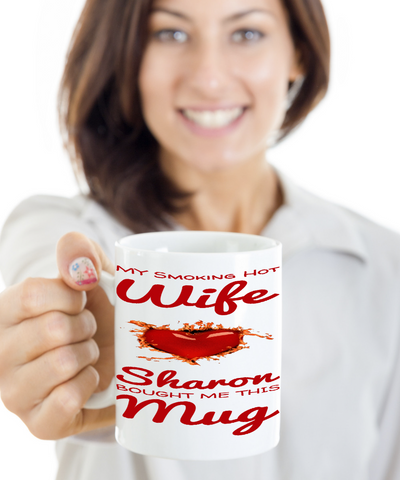 Hot Wife Mug Personalized Holiday Valentines Day Gift For Her Cocoa Cookie Cup, Coffee Mug, Gearbubble, FamilyTrophy.com - FamilyTrophy.com