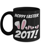 Happy Easter Bunny Ears Mug Black Coffee Cup For Easter 2017 2018 Gifts For Him Her Family Grandparent Grandma Granddad Wive Husband Couples Funny Sayings Holiday Tea Coffee Mugs Cups Hoppy Easter 2017, Coffee Mug, Gearbubble, FamilyTrophy.com - FamilyTrophy.com