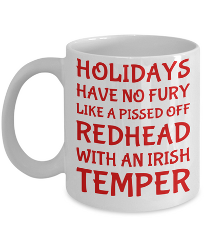 Holiday Christmas Mug Gift For Redhead Irish Girls - Xmas Inspiration Gift For Her, Mom, Grandma, Sister, Girlfriend - 11oz White Ceramic Cup for Cocoa, Coffee, Tea, Cookies & Ginger Bread, Coffee Mug, Gearbubble, FamilyTrophy.com - FamilyTrophy.com