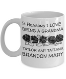 Holiday Morning Mug - White 11 oz Grandma Cup - Personalized Grandkids Name Gift - Perfect for Cocoa, Milk, Cookies & Candy - Personalization Gift For Nana & Mimi, Coffee Mug, Gearbubble, FamilyTrophy.com - FamilyTrophy.com