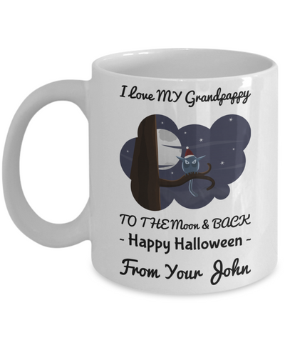 Funny Halloween Mug - Personalization Gift For Granddas & Grandparents - Happy Halloweenie Moon & Back Owl Coffee Cup, Coffee Mug, Gearbubble, FamilyTrophy.com - FamilyTrophy.com