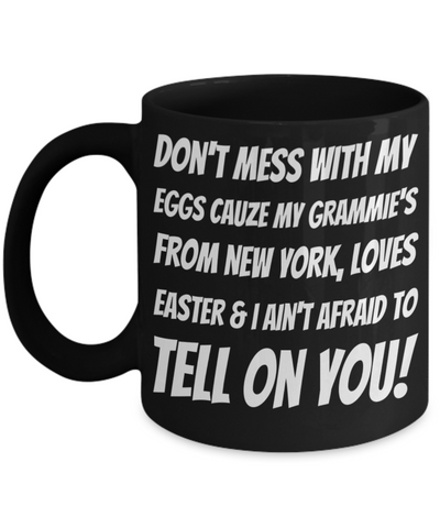 Black Ceramic Affordable Grandma Mug Coffee Easter Holiday Gift Mugs Coffee Funny Sayings Cup For New York Grandparents Easter Bunny Chocolate Jar From Grandkids New York, Coffee Mug, Gearbubble, FamilyTrophy.com - FamilyTrophy.com