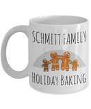 Holiday Baking Ginger Bread Morning Coffee Mug - Funny Sayings & Quotes Christmas Gift for Her - Personalized Last Name Family Cocoa, Milk, Coffee, Tea, Cookies & Candy Cane Cup - Personalization Gift, Coffee Mug, Gearbubble, FamilyTrophy.com - FamilyTrophy.com