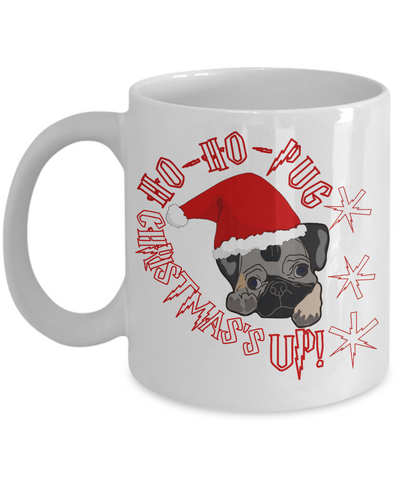 Ho Ho Christmas Pug Mug 2016 - White Cartoon Mug for Dog Lover - Fun Gift For Morning Coffee or Pencil Holders, Coffee Mug, Gearbubble, FamilyTrophy.com - FamilyTrophy.com