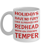 Holiday Christmas Mug Gift For Redhead Italian Girls - Xmas Inspiration Gift For Her, Mom, Grandma, Sister, Girlfriend - 11oz White Ceramic Cup for Cocoa, Coffee, Tea, Cookies & Ginger Bread, Coffee Mug, Gearbubble, FamilyTrophy.com - FamilyTrophy.com