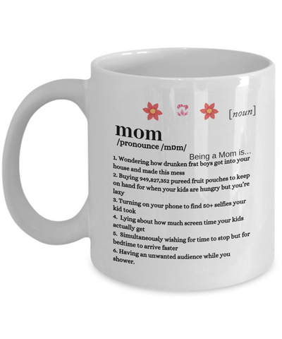 Funny Mom Definition Coffee & Tea Mug - Being A Mom Is Cup - Her Favorite Cup For Breaks - Motivational & Inspirational Gift For Mother's Day