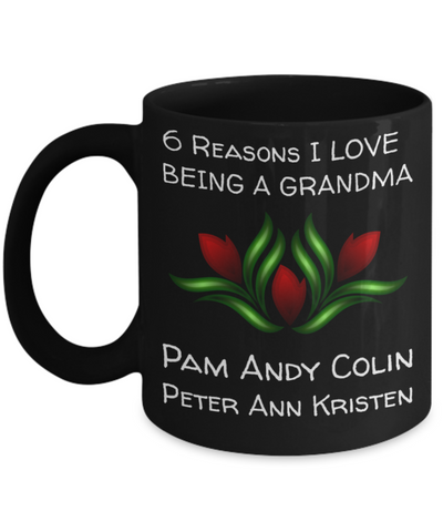 Holiday Morning Mug - Black 11 oz Grandma Cup - Personalized Grandkids Name Gift - Perfect for Cocoa, Milk, Cookies & Candy - Personalization Gift For Nana & Mimi, Coffee Mug, Gearbubble, FamilyTrophy.com - FamilyTrophy.com
