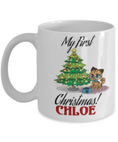 *Attention Cat Moms* Turn your Mugs into a piece of Purrrfect Cat Mom Art! First Christmas Personalized Cat Name Christmas Kitten Mug Gift For Cat Lovers, Coffee Mug, Gearbubble, FamilyTrophy.com - FamilyTrophy.com