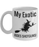 Fun Exotic Cat Witch Coffee Mug For Women Holiday Witch Gift For Female Cat Lovers Tea Cup Halloween Gifts For Her & Him Shotgun & Broom Mugs For Cocoa & Tea, Coffee Mug, Gearbubble, FamilyTrophy.com - FamilyTrophy.com