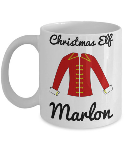 Christmas Elf Morning Cocoa Mug - Funny Christmas Gift for Boys & Girls - Personalized First Name Kid Hot Beverage, Milk, Cookies, Candy Cane Cup for X-Mas - Holiday Personalization Gift, Coffee Mug, Gearbubble, FamilyTrophy.com - FamilyTrophy.com
