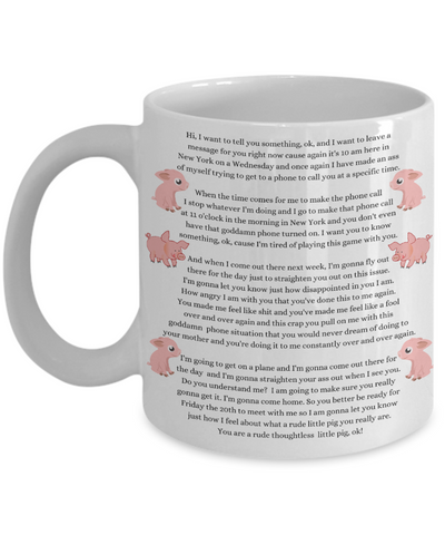 Funny Thoughtless Little Pig Mug - Father Daughter Baldwin Parody Gift For Father's Day