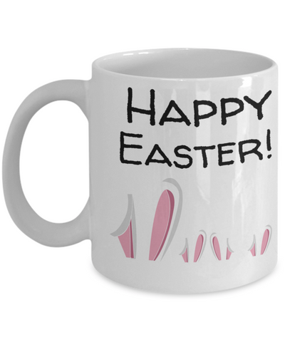 Happy Easter Bunny Ears Mug White Coffee Cup For Easter 2017 2018 Gifts For Him Her Family Grandparent Grandma Granddad Wive Husband Couples Funny Sayings Holiday Tea Coffee Mugs Cups, Coffee Mug, Gearbubble, FamilyTrophy.com - FamilyTrophy.com