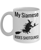 Scary Siamese Cat Witch Coffee Mug For Women Holiday Gift For Female Cat Lovers Tea Cup Halloween Gifts For Her Witch Shotgun & Broom Mugs For Candy & Coloring Pencil Holder, Coffee Mug, Gearbubble, FamilyTrophy.com - FamilyTrophy.com