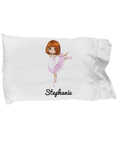 Ballerina Pillow Case for Girls: Personalized Girl Pillowcase - Cute Gift For Kids - Inspirational Bedding for Dancing Fans - Christmas Dance Present & Holiday Gift - Beautiful Name Personalized & Customized Girly Princess Bed Accessory!, Pillow Case, Gearbubble, FamilyTrophy.com - FamilyTrophy.com
